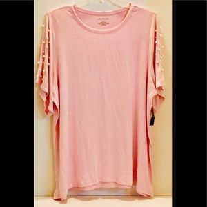 LANE BRYANT NEW Tag SOFT SS PINK Pearls TOP 18